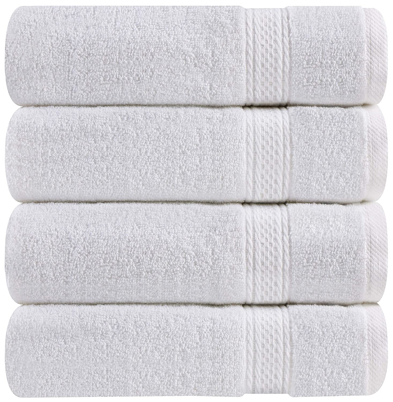 Toallas de mano grandes de algodón (blanco, paquete de 4, 41 x 71 cm) - Uso multipropósito para baño, manos, rostro, gimnasio y spa - Toallas utopia: ...