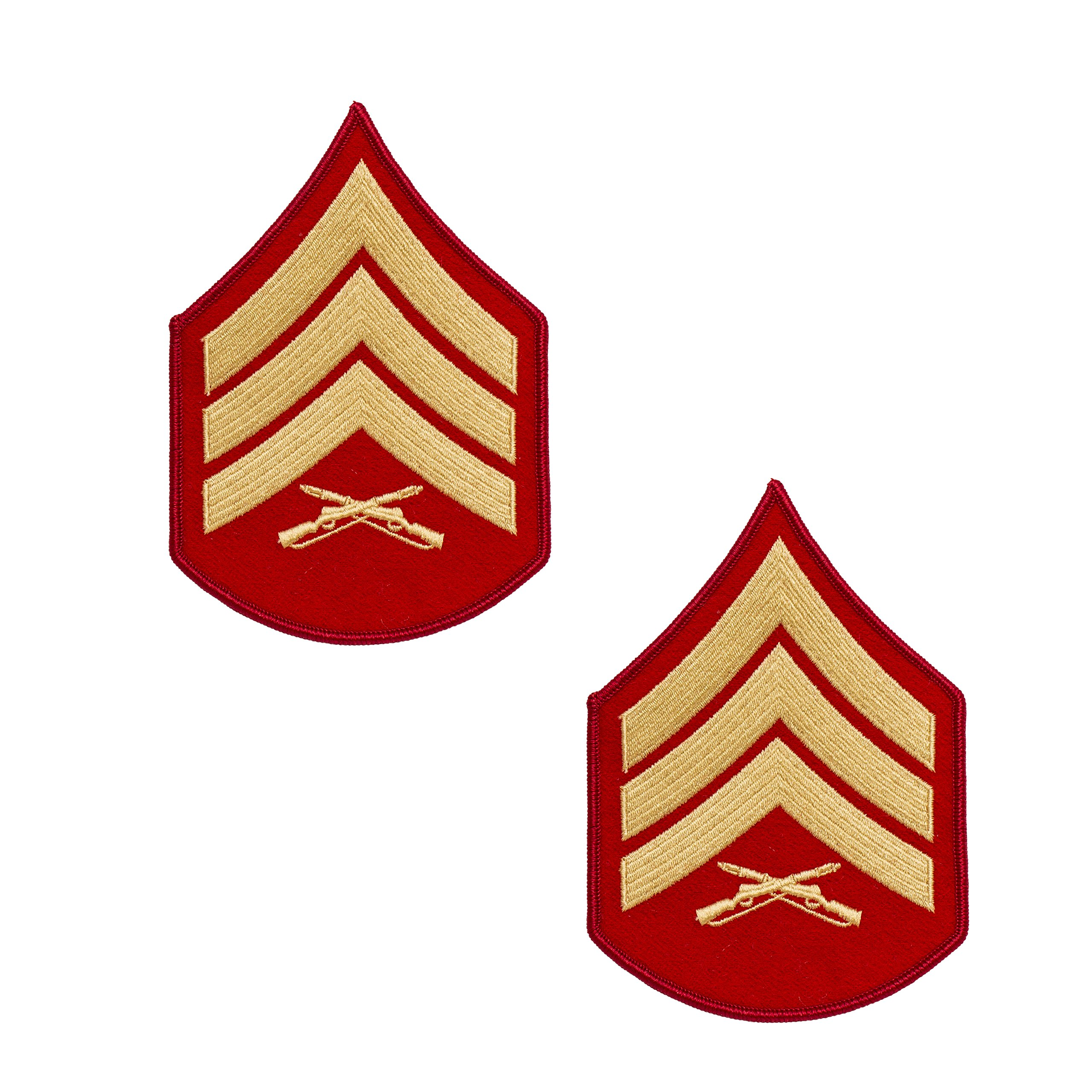 USMC Gold on Red Chevrons, Male Sergeant, Sgt