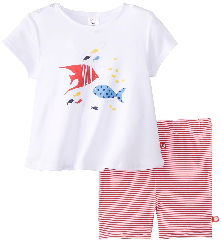 Zutano Baby Girls Angel Fish Swing Tee and Bike Short Set