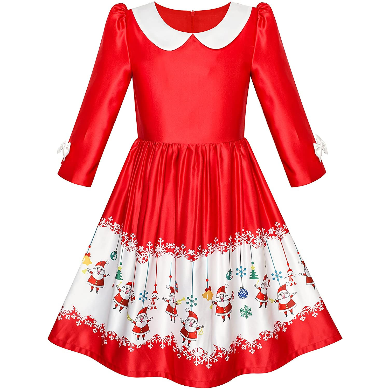 Sunny Fashion Girls Dress 3/4 Sleeve Christmas Santa Jingle Bell Snow Size 4-12