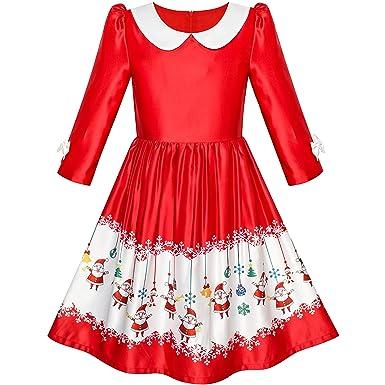 44a8e56fd786a Sunny Fashion Robe Fille 3 4 Manche Noël Père noël Tinter Cloche Neige 4 Ans