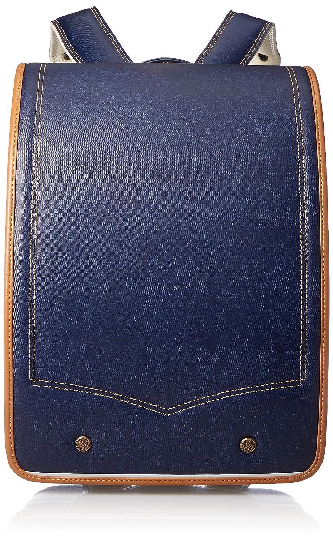 [キッズアミ] 【公式】 ランドセル デニム 牛革フラットキューブ A4フラットファイル対応 日本製 19107 B079BHWWG1ネイビーキャメル/イエローステッチ