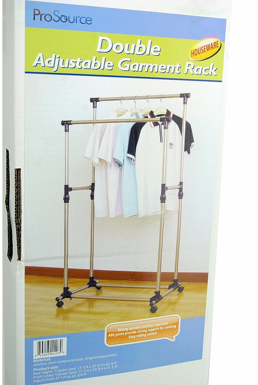 Great Amazon.com: ProSource Premium Heavy Duty Double Rail Adjustable Telescopic  Rolling Clothing And Garment Rack: Home U0026 Kitchen