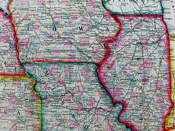 Map Of Illinois And Iowa Amazon.com: Iowa Missouri Kansas Illinois Nebraska U.S. 1860