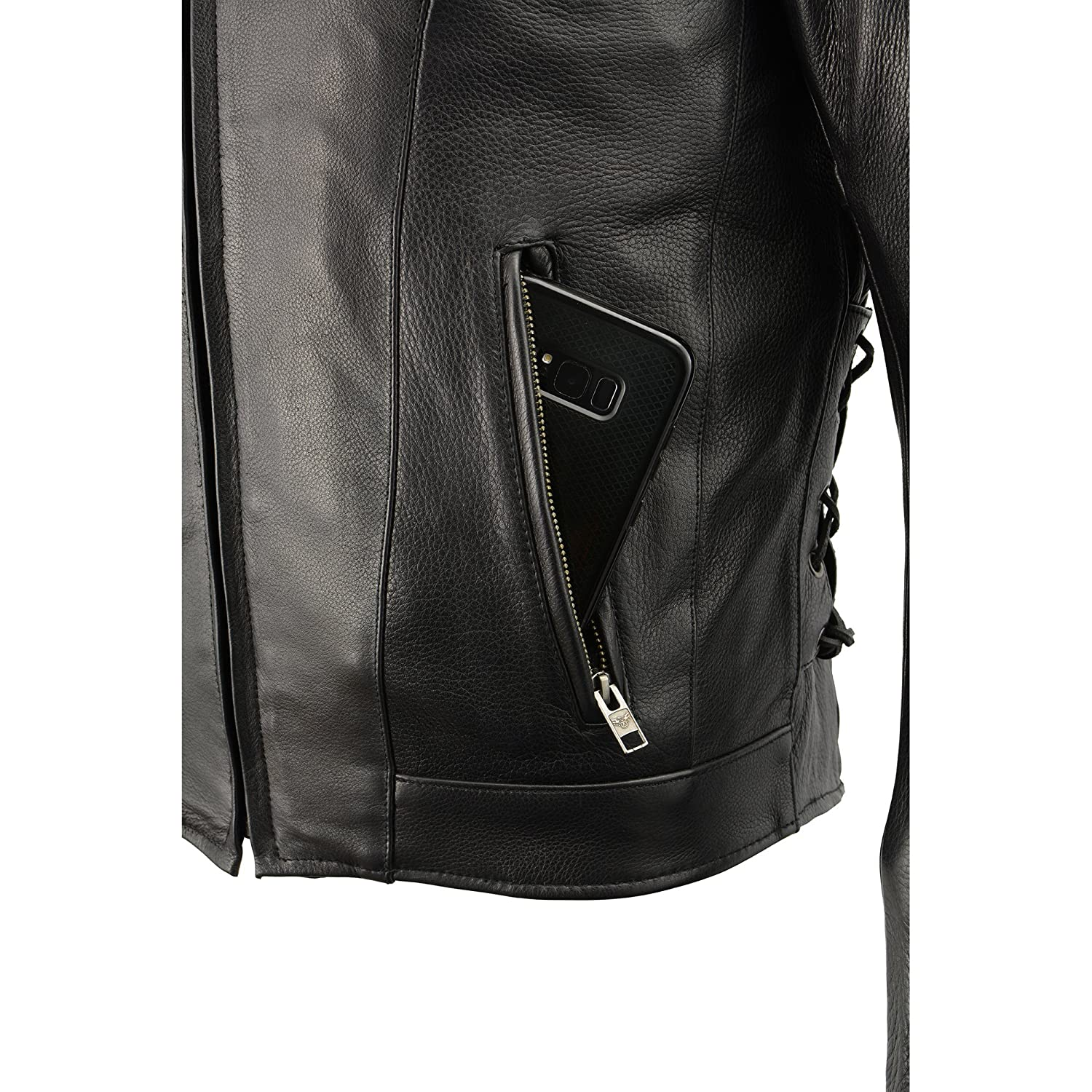 Milwaukee Leather Mens Side Lace Vented Scooter Jacket Black, 2X-LargeTall