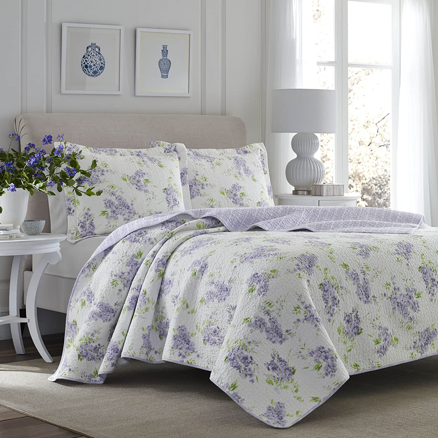 Laura Ashley 221050 Keighley Quilt Set, Twin, Lilac