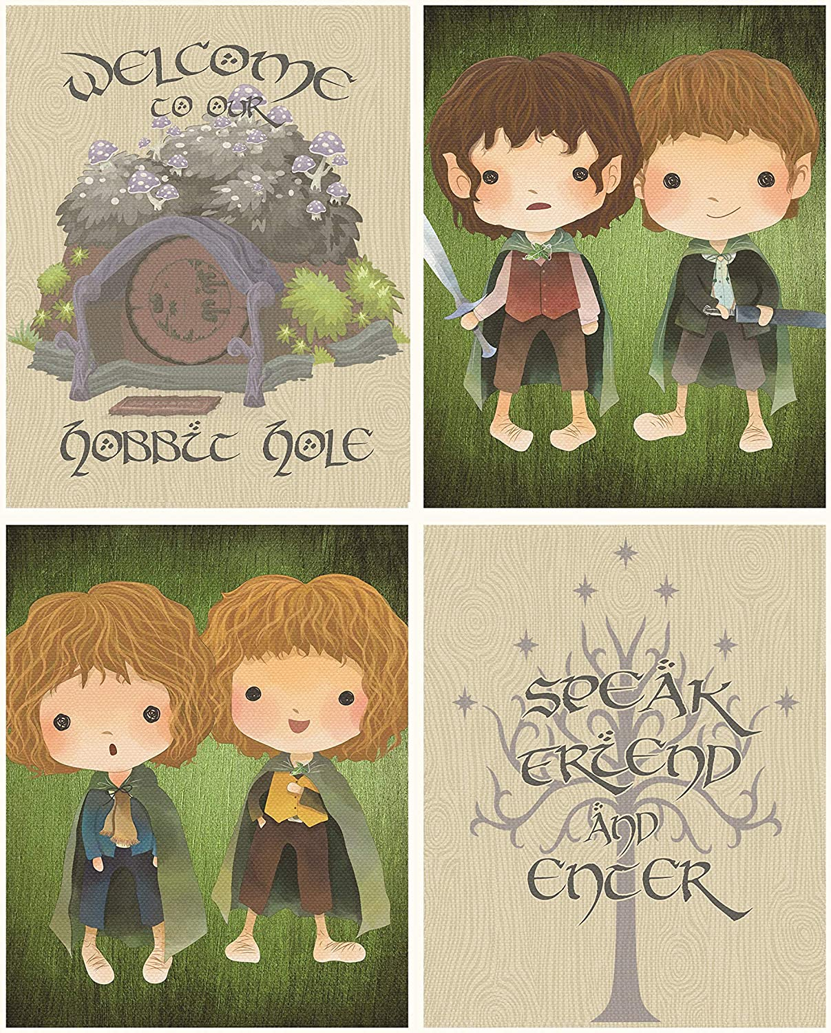 Lord of The Rings Themed Wall Art Print Pictures Room & Bathroom Home Decor (Hobbit Hole)