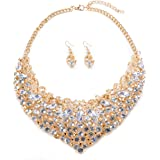 Womens Luxury Rhinestone Crystal Choker Necklace and Earring Set Bride Jewelry Set