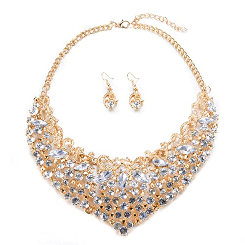 Womens Luxury Rhinestone Crystal Choker Necklace and Earring Set Bride  Jewelry Set (Gold) f36433752bd0