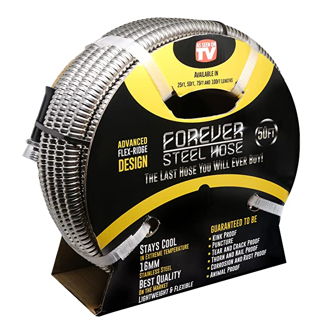 Forever Steel Hose 50' 304 Stainless Steel Garden Hose - As Seen On TV - Lightweight, Kink-Free, and Stronger Than Ever, Durable and Easy to Use-Best-Popular-Product