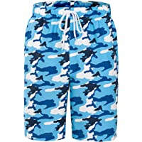 Rokka&Rolla Men's Quick Dry Drawstring Waist Swim Trunks Board Shorts with Mesh Lining