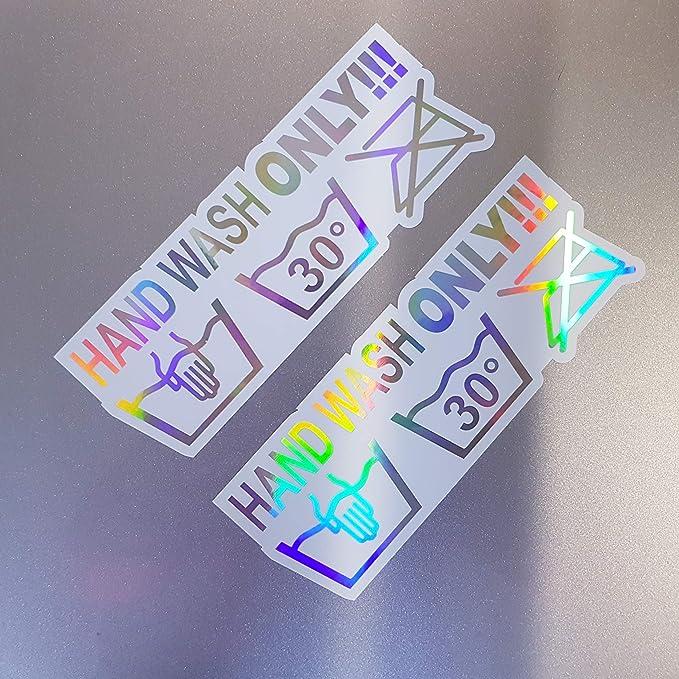 Folien Zentrum 2x Hand Wash Only Weiß Hologramm Oilslick Rainbow Flip Flop Aufkleber Metallic Effekt Shocker Auto Jdm Tuning Oem Dub Decal Sticker Illest Dapper Oldschool Auto
