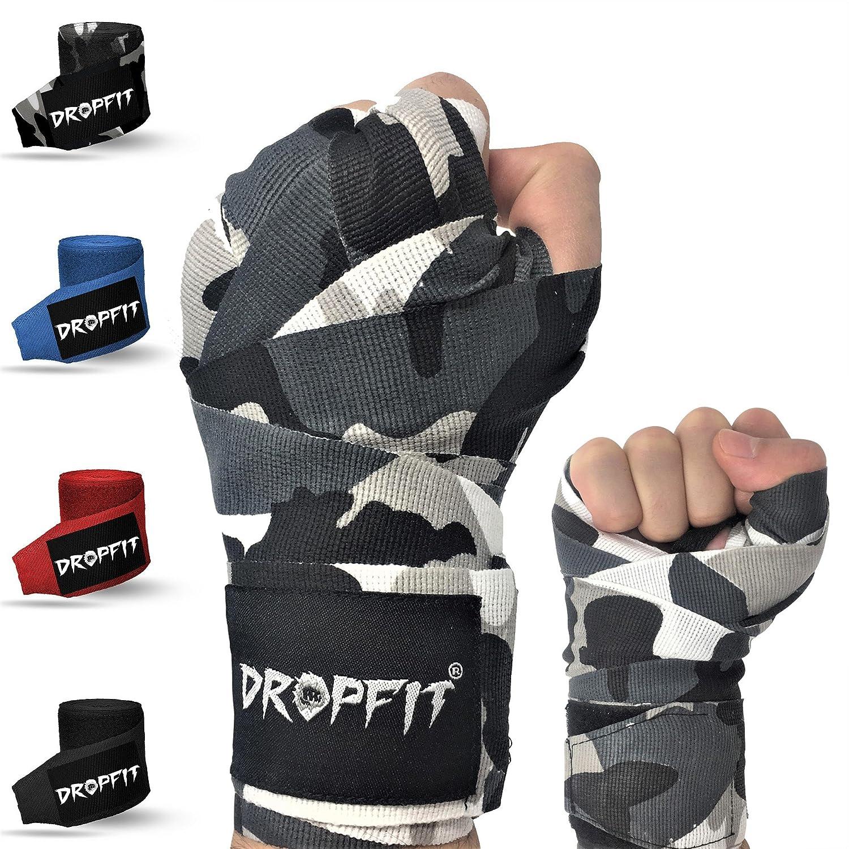 DROPFIT® vendas pulgar cortina (4m) con bolsa de plástico–Media de elásticos vendas de boxeo (con velcro extra ancho–Vendas para deportes de lucha, azul