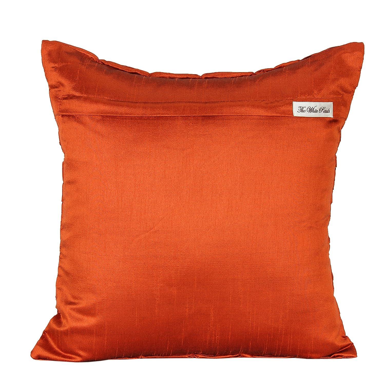 セットの2ソリッドシルクフリル付き枕カバー 18x18 inch オレンジ rust