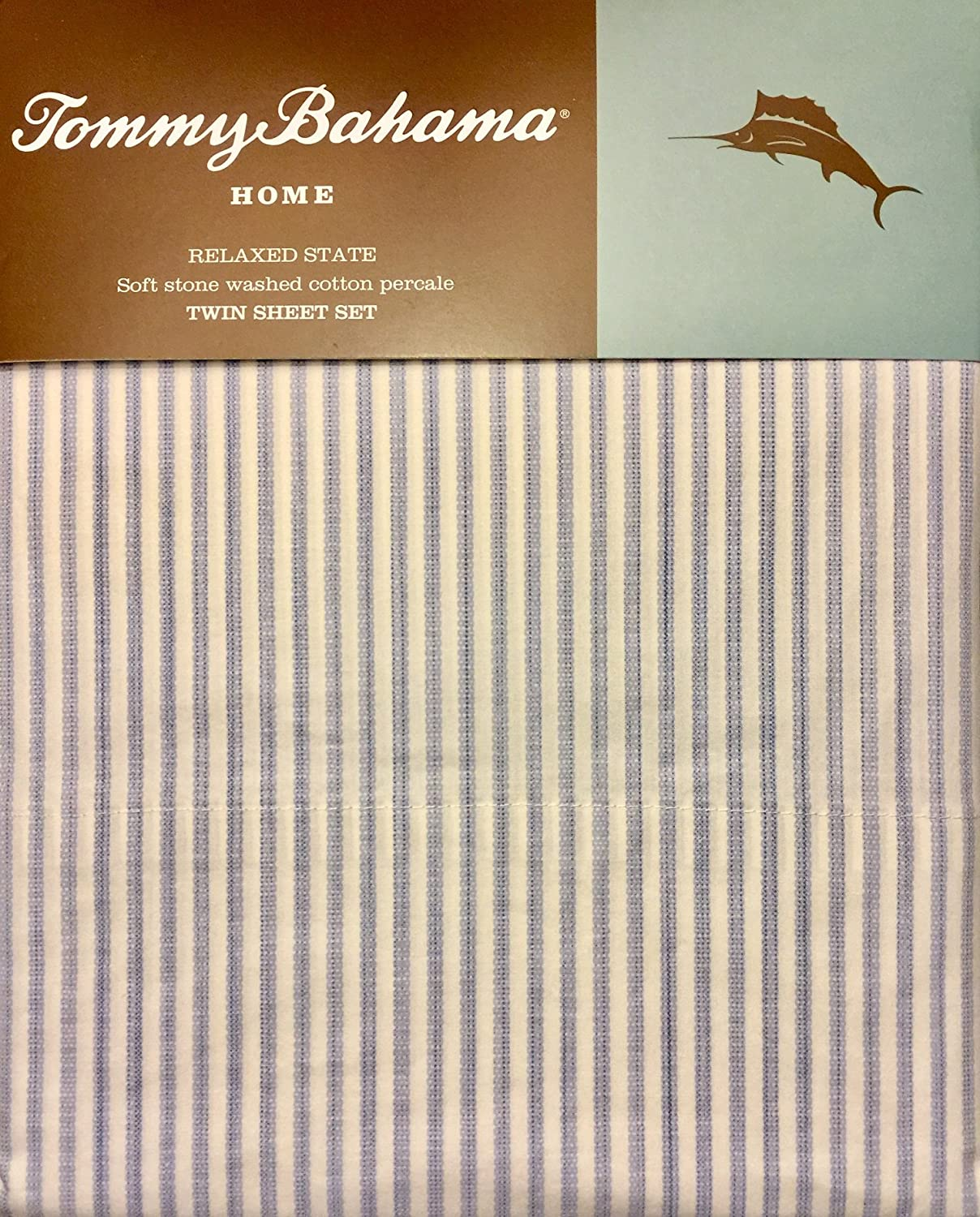 Amazon.com: Tommy Bahama Home Relaxed State Stone Washed Cotton Percale Blue Striped Sheet Set (Twin): Home & Kitchen