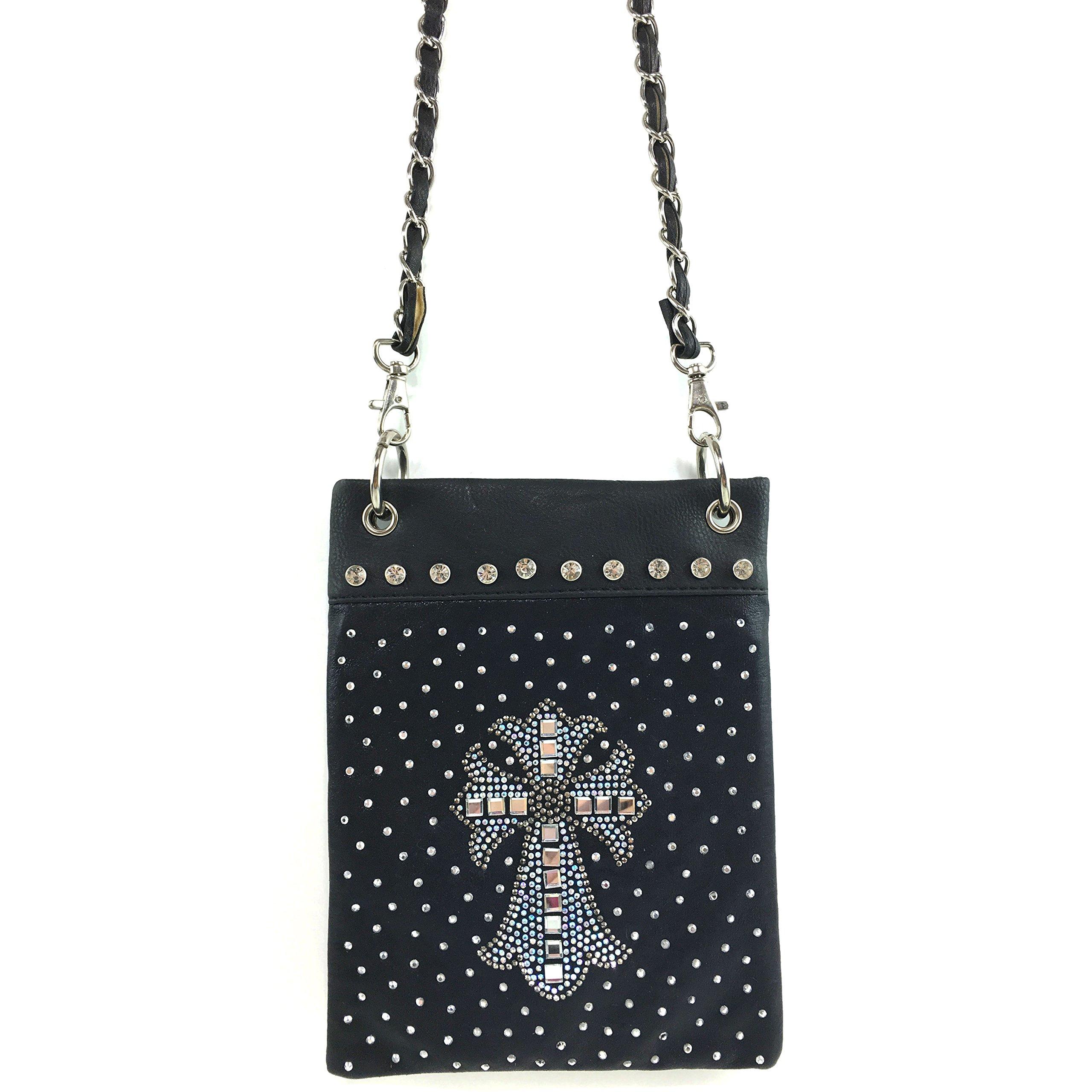 Justin West Concealed Carry Shiny Bling Gleaming Rhinestone Glass Cross Messenger Cross Body Handbag Purse (Black Mini Purse)