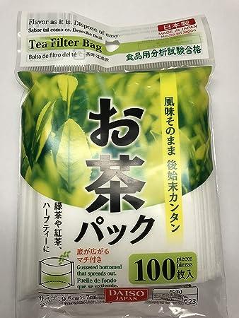 Amazon.com: Daiso - Bolsas de filtro de té desechables (100 ...