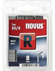 Novus Flachdrahtklammern mit 8 mm Länge, 960 Klammern, Typ 50/8, zur Befestigung von Folien, Etiketten, Papier und Pappe