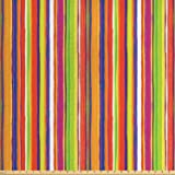 Ambesonne Stripes Fabric by The Yard, Hand Drawn Barcode Style Lines Rainbow Colored Abstract Geometric Illustration, Decorative Fabric for Upholstery and Home Accents, 1 Yard, Multicolor