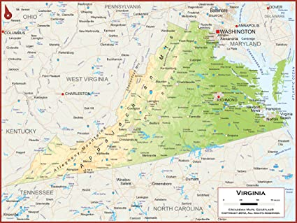 Amazon.com : Academia Maps - Virginia State Wall Map - Fully ...