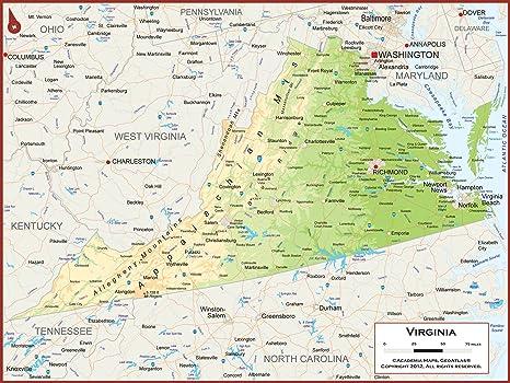 Amazon.com : 54 x 41 Large Virginia State Wall Map Poster ... on north carolina map, usa map, tn map, ohio map, illinois map, virgina map, mississippi map, nc map, alabama map, texas map, sc map, michigan map, georgia map, kentucky map, nashville map, missouri map, south carolina map, florida map, arkansas map, tennessee map,