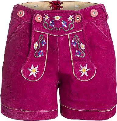 Damen Trachten Lederhose mit Trägern pink B-Ware