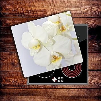 Orchidee 1 Glas Abdeckplatte 60x52 Schneidebrett Herdabdeckplatte