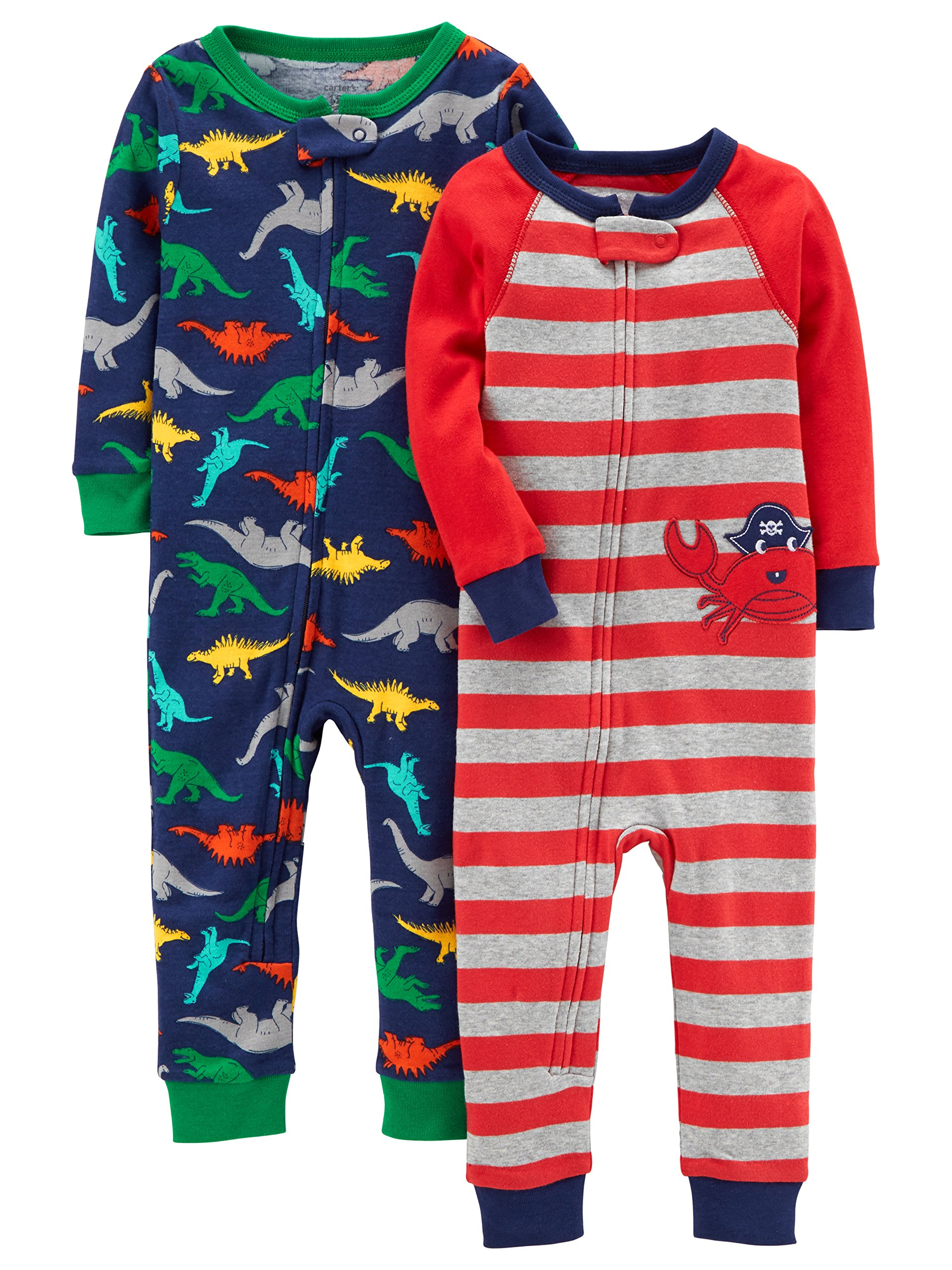 Carter's Baby Boys' 2-Pack Cotton Footless Pajamas, Crab/Dino, 24 Months
