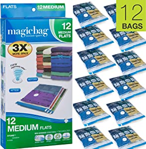Smart Design MagicBag Instant Space Saver Storage - Flat Medium - Airtight Double Zipper - Vacuum Seal - Clothing, Pillows - Home Organization - 3 Bags (Pack of 4) [12 Bags Total]