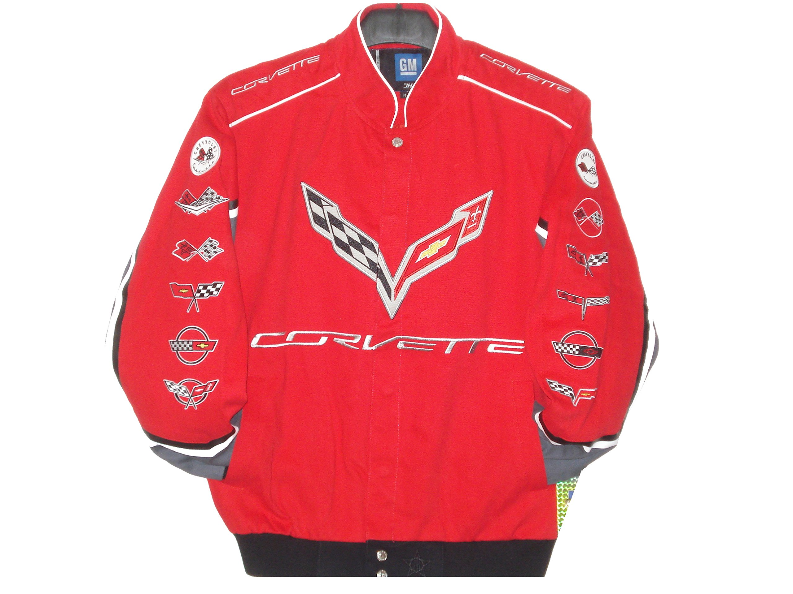 JH DESIGN Corvette Racing Embroidered Cotton Jacket Red Size Small