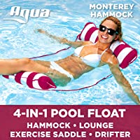 Aqua Monterey 4-in-1 Multi-Purpose Inflatable Hammock (Saddle, Lounge Chair, Hammock, Drifter) Portable Pool Float,...