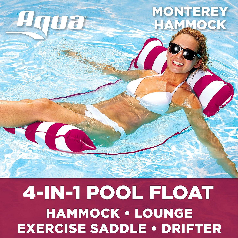 Aqua Monterey 4-in-1 Multi-Purpose Inflatable Hammock (Saddle, Lounge Chair, Hammock, Drifter) Portable Pool Float, Burgundy/White Stripe