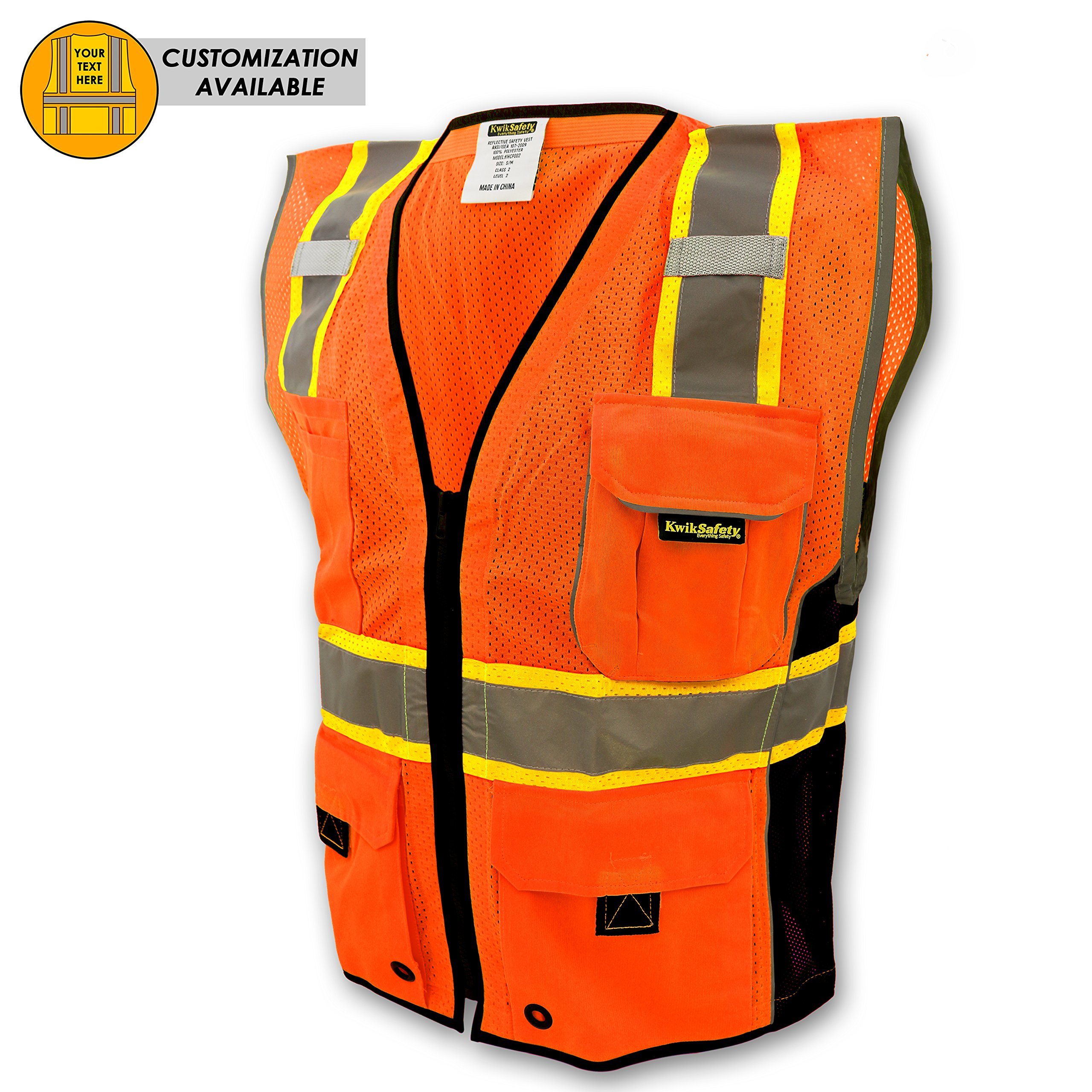 KwikSafety CLASSIC Safety Vest | Class 2 ANSI OSHA PPE | High Visibility Reflective Stripes, Heavy Duty Mesh with Pockets and Zipper | Hi-Vis Construction Work Hi-Vis Surveyor | Orange S/M
