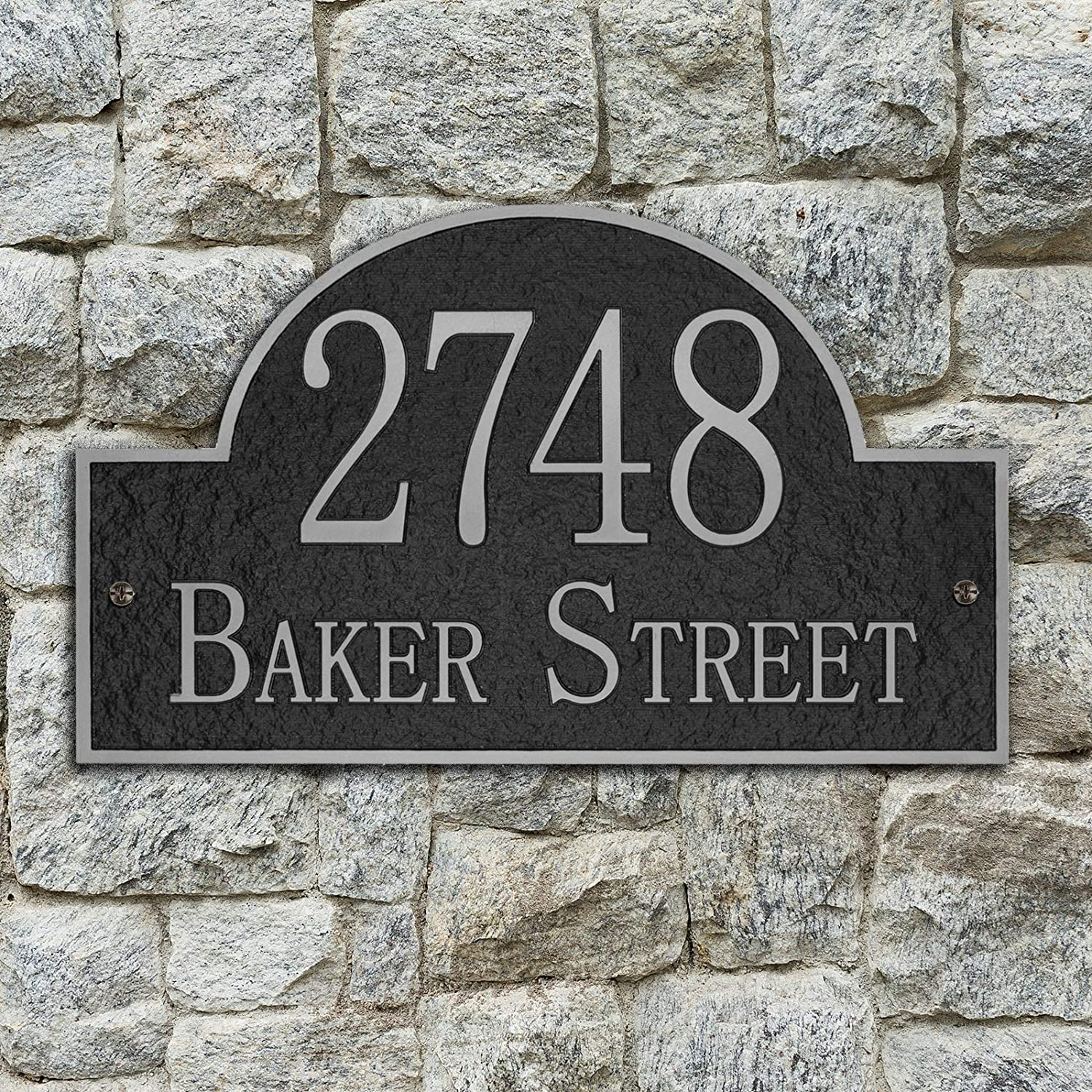 Vintage Arch Address Plaque Home Address Sign Decorative Personalized House Garden Wall Sign, 911 Visibility Signage, Any Font - Any Number and Letters, 13 x 8 inches (Silver)