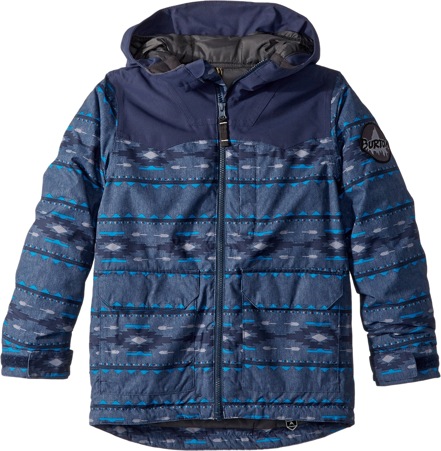 Burton Kids Boy's Phase Jacket (Little Kids/Big Kids) Mood Indigo Saddle Stripe/Mood Indigo X-Small by Burton
