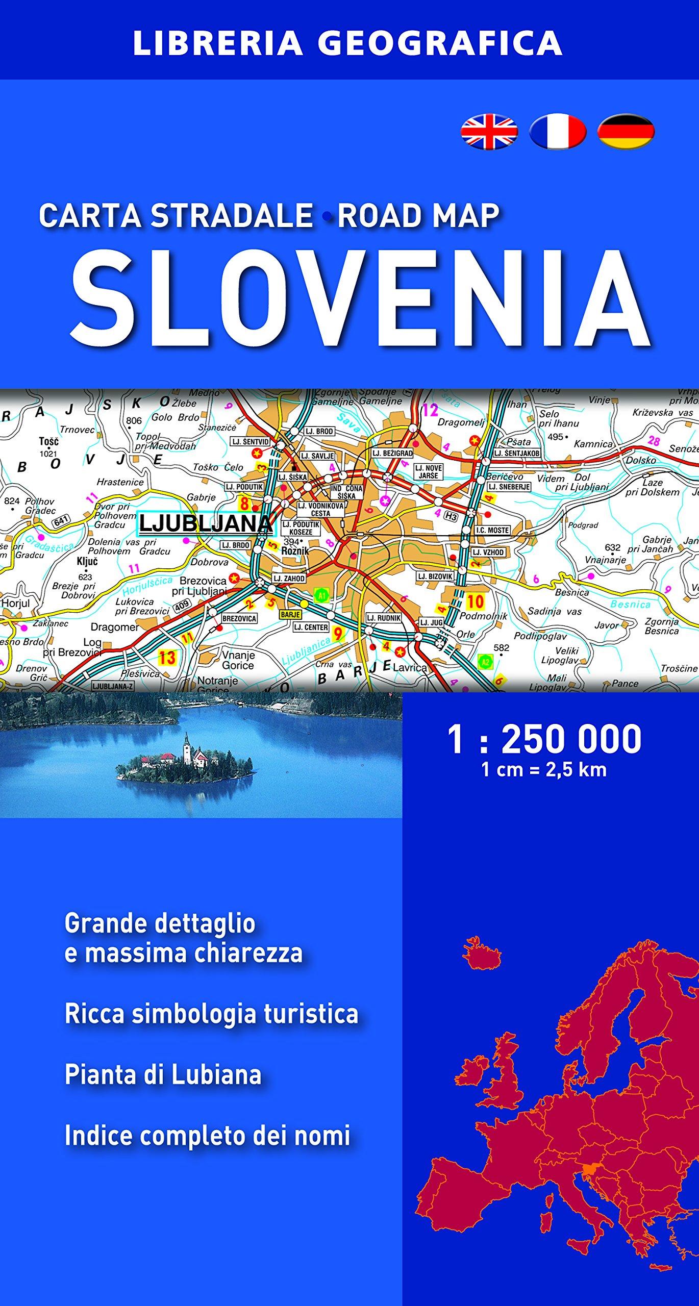 Cartina Stradale Slovenia.Amazon It Carta Stradale Della Slovenia 1 250 000 Aa Vv Libri