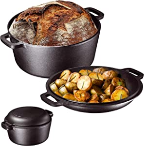 Heavy Duty Pre-Seasoned 2 In 1 Cast Iron Double Dutch Oven Set and Domed 10 inch Skillet Lid, Open Fire Camping Dutch Oven, Non-Stick, 5-Quart