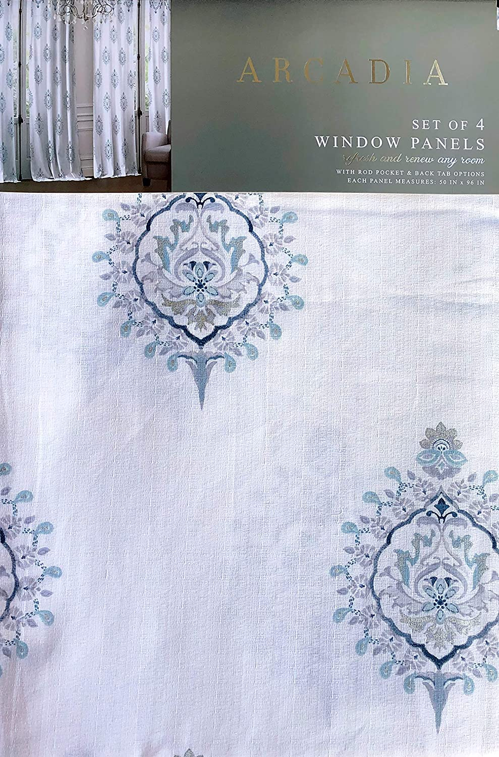 Arcadia Floating Medallions 4pc Window Curtains Set Light Blue Gray Silver Highlights on White Top Border Set of 4 Panels Rod Pockets Back Tabs, Nabiha Spa Blue - 50 Inches by 96 Inches