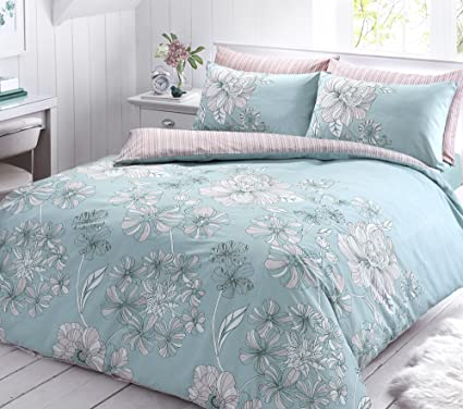 0f7fa7e3a3ec PIERIDAE Linear Floral Duck Egg Reversible Duvet Quilt Cover + PillowCases  (Single): Amazon.co.uk: Kitchen & Home