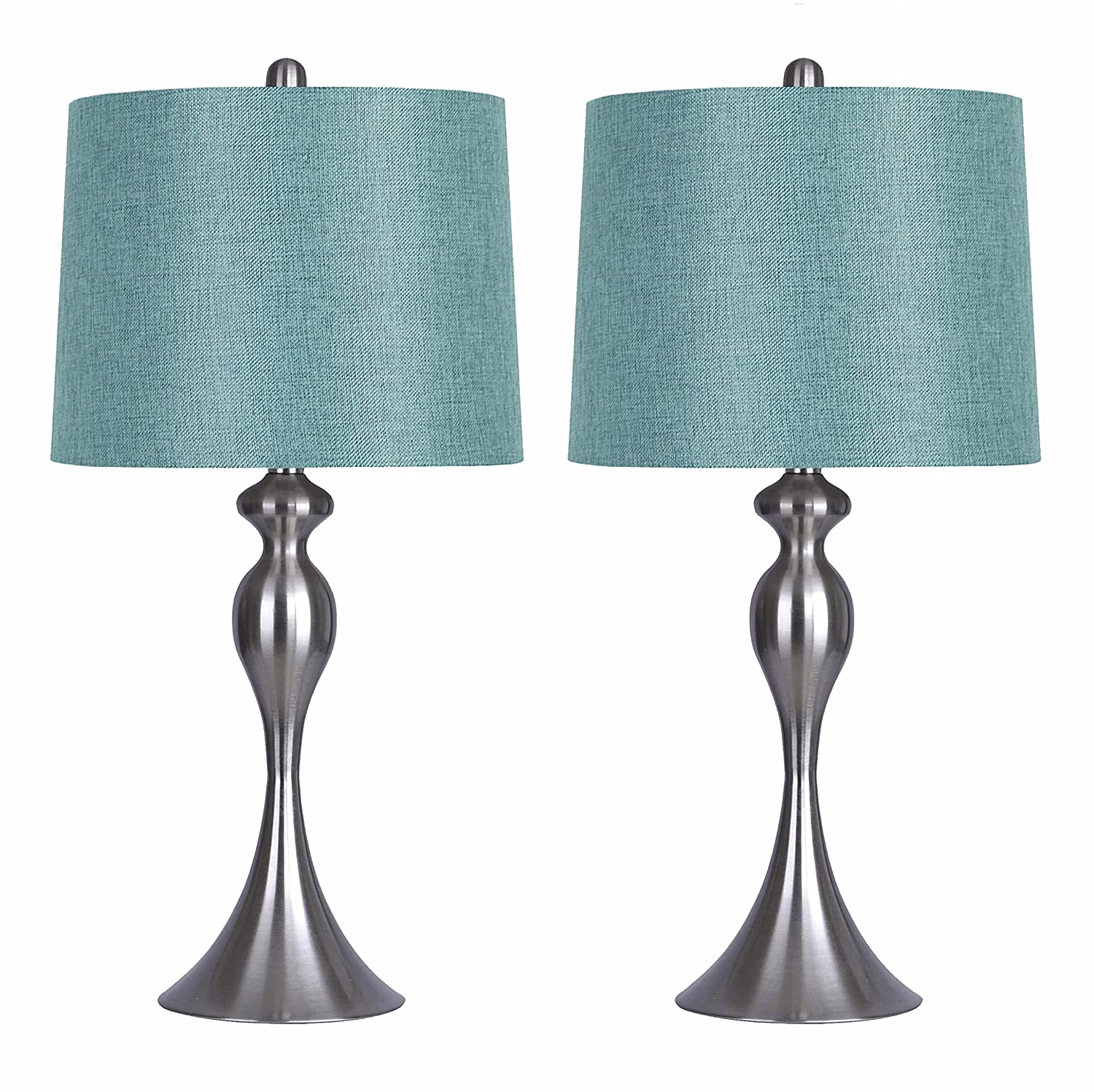 Grandview Gallery Table Lamps with Turquoise Shade, Set of 2 - Linen ...