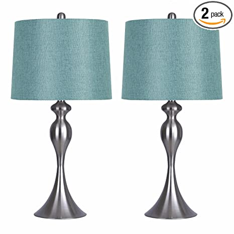 Grandview Gallery Table Lamps With Turquoise Shade, Set Of 2 U2013 Linen And Brushed  Nickel