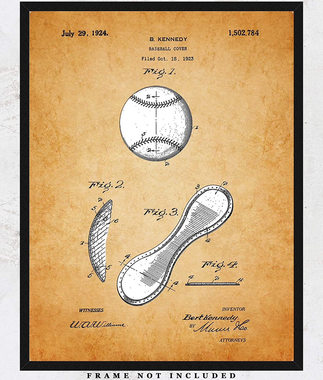 db8a5656dc003 Amazon.com: Vintage Baseball Patent Wall Art Print: Unique Room ...