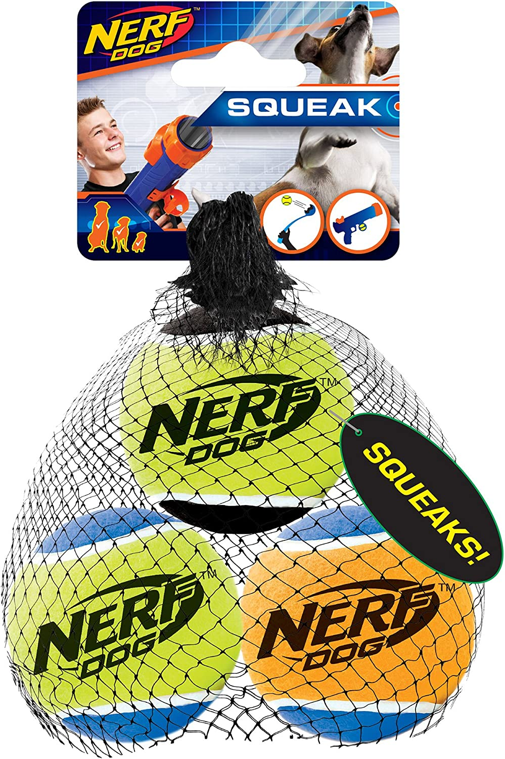 Pet Supplies : Nerf Dog Tennis Ball Dog Toy with Interactive Squeaker, Lightweight, Durable and Water Resistant, 2.5 Inches, for Small/Medium/Large Breeds, Three Pack, Assorted Colors :