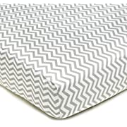 American Baby Company 100% Natural Cotton Percale Fitted Crib Sheet for Standard Crib and Toddler Mattresses, Gray Zigzag, Soft Breathable, for Boys and Girls