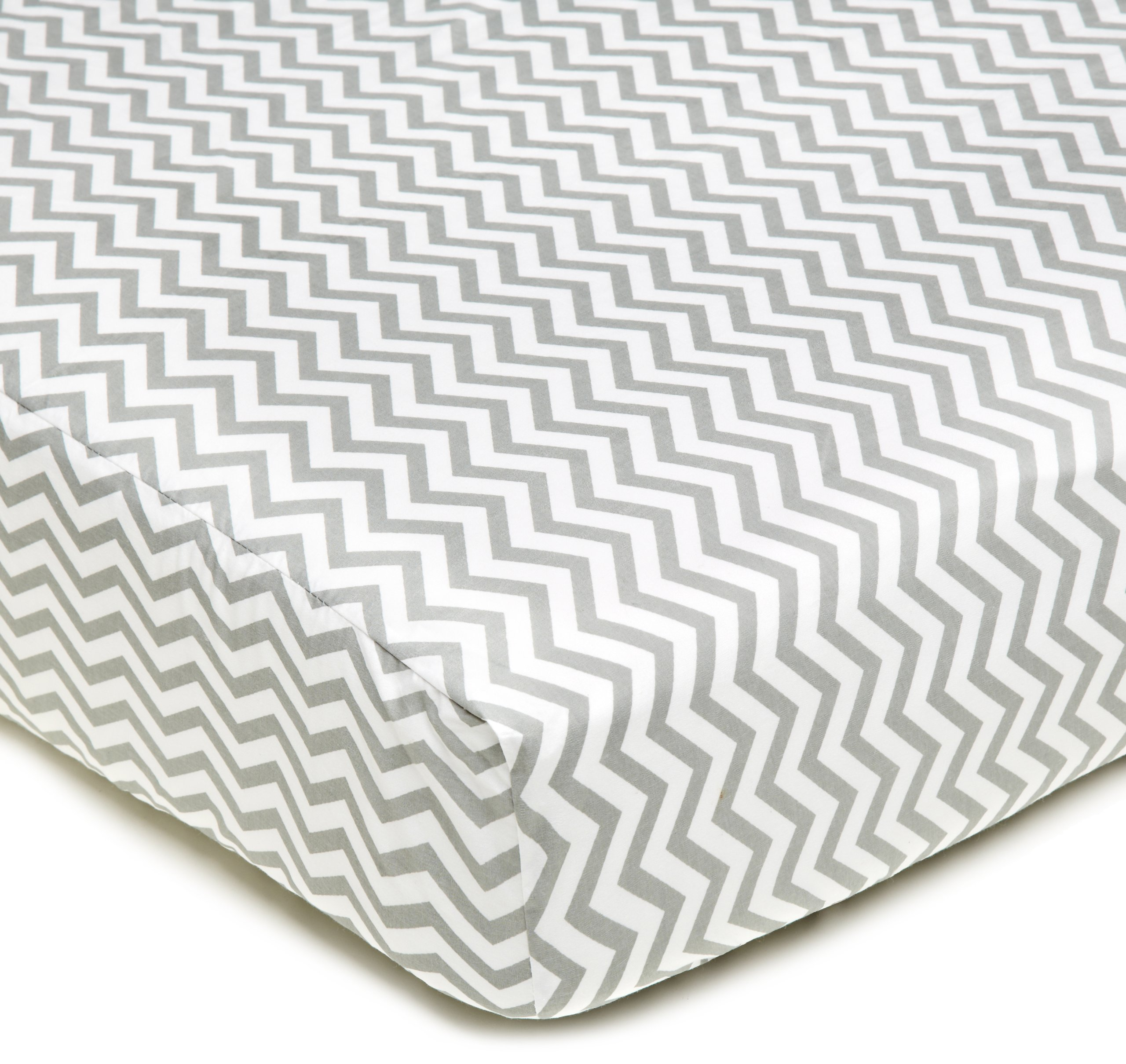 American Baby Company 100% Cotton Percale Fitted Crib Sheet for Standard Crib and Toddler Mattresses, Gray Zigzag