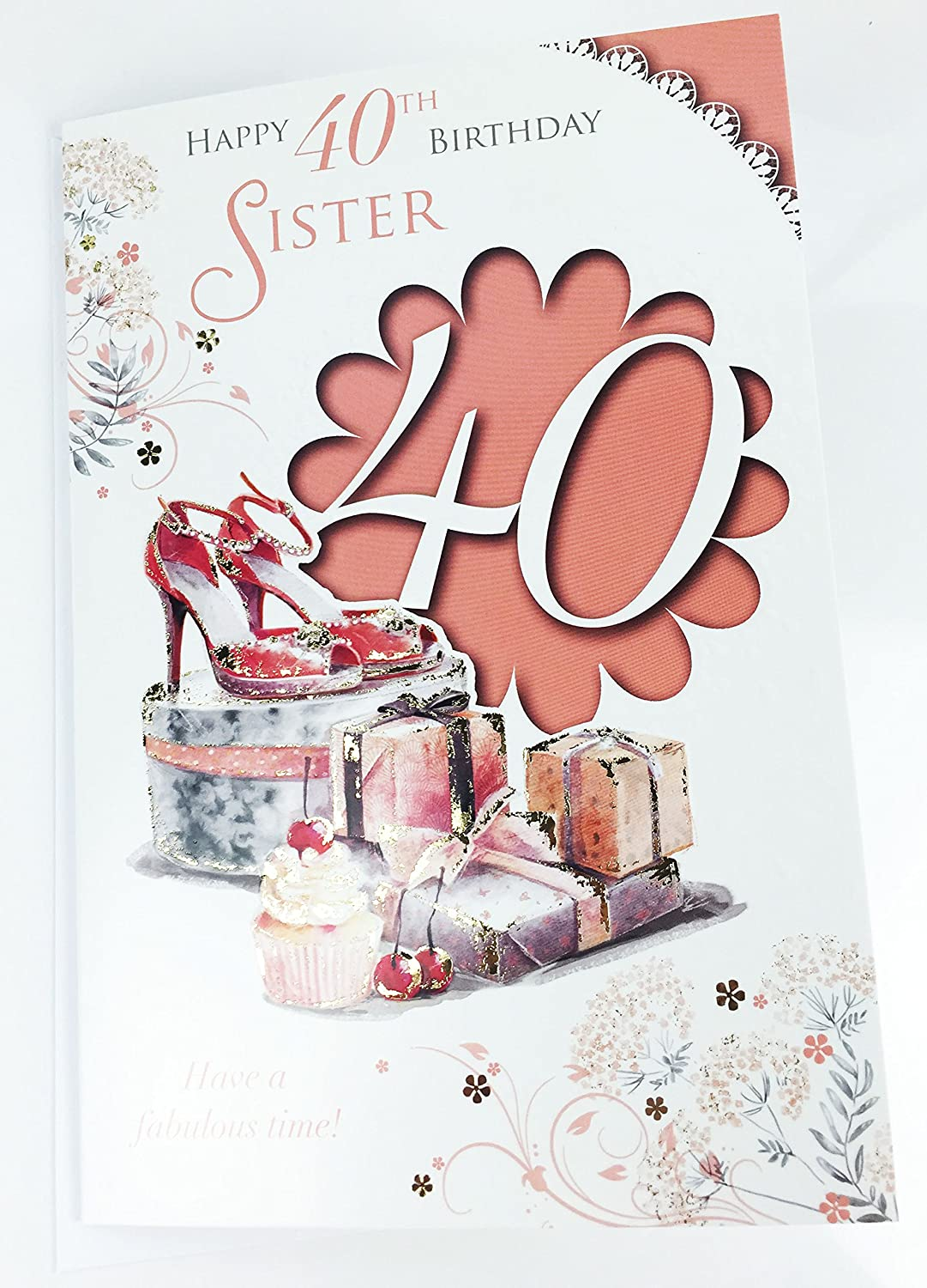 Sister 40th birthday card large greeting card for age 40 quality sister 40th birthday card large greeting card for age 40 quality birthday amazon office products kristyandbryce Image collections