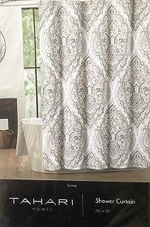 Tahari Fabric Shower Curtain Beige And Gray Paisley Medallions Salma