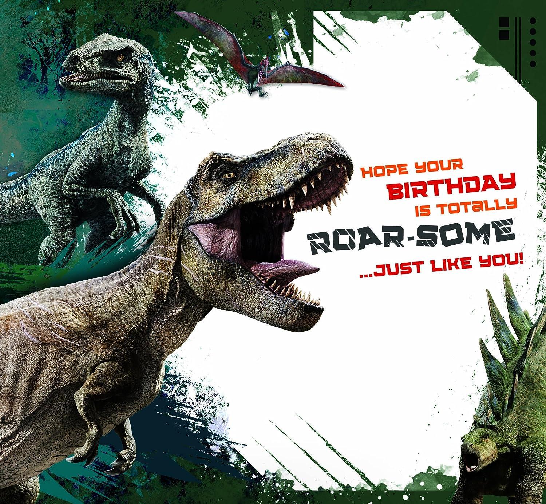 JURASSIC WORLD JW004 Tarjeta de cumpleaños para hijo: Amazon ...