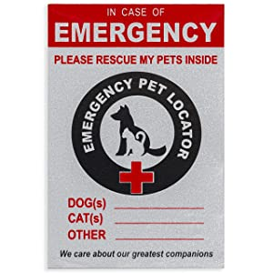 Emergency Pet Fire Rescue Decal – (1 PACK) Reflective Locator Alert Sticker - Fire Safety for Dogs Cats & ALL Pets – In Case of Emergency Window Clings - Save Our Animals Inside – EMS Home Emblem Sign