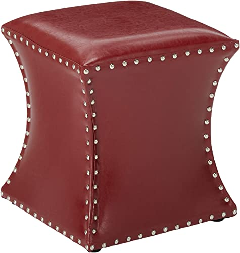 Kings Brand Furniture Nailhead Trim Upholstered Stool Ottoman Red - the best ottoman chair for the money